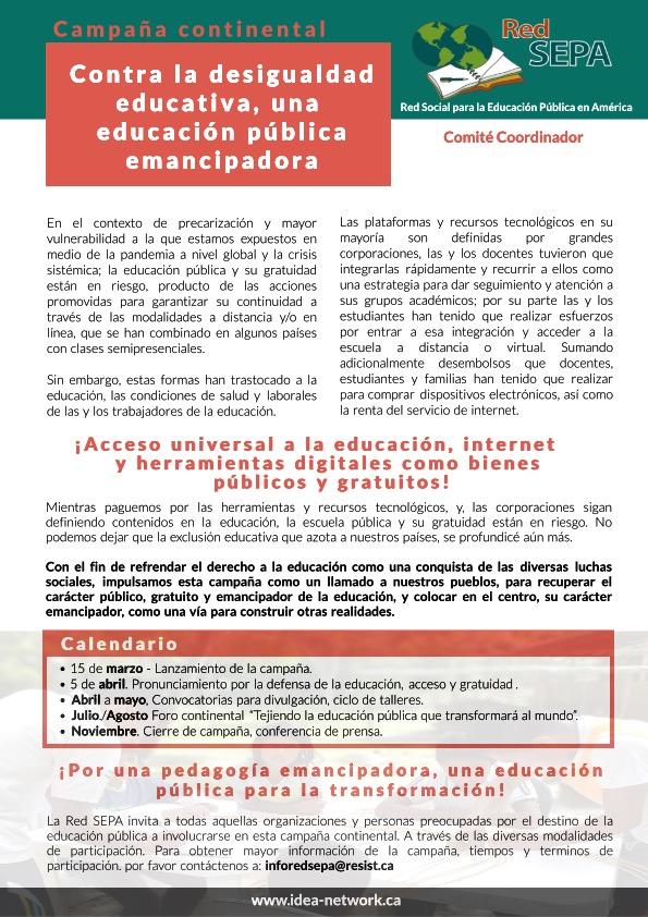 """""""Contra la desigualdad educativa, una educación pública emancipadora"""""""